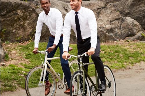 Wear these white dress shirts as you bike to work. Sweat is transported to the fabric's surface where it quickly evaporates.