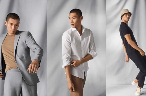A man models different looks from the H&M menswear collection that offers the cooling performance of COOLMAX® technology.