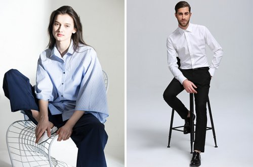 Models wearing woven shirts produced by Luthai Textiles and offering the moisture-wicking benefits of COOLMAX® technology.