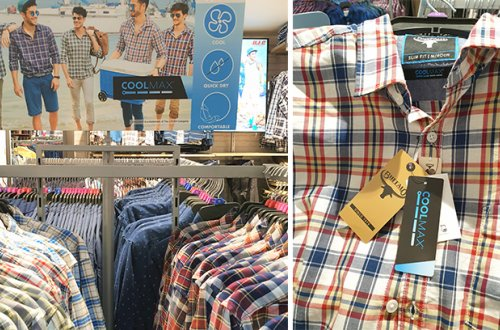 In-store displays showcase breathable Buffalo summer shirts with the moisture-wicking performance of COOLMAX®
