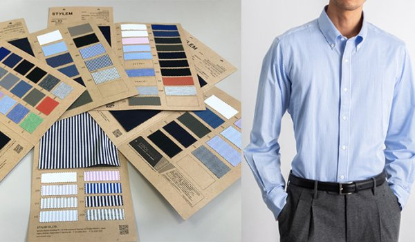 Swatches of fine gauge CK shirting fabric (left) and a model wearing a dress shirt made by Stylem (right).