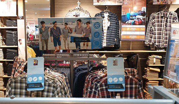 In-story display of Buffalo's summer shirts with co-branded merchandising tools promoting its use of COOLMAX® technology.
