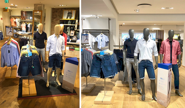 Store displays quickly explain the features and benefits of garments made with COOLMAX® technology to drive retail sales.