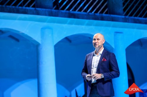 Julien Born, Apparel President, The LYCRA Company, giving a speech at the annual consumer event in Shanghai, China.