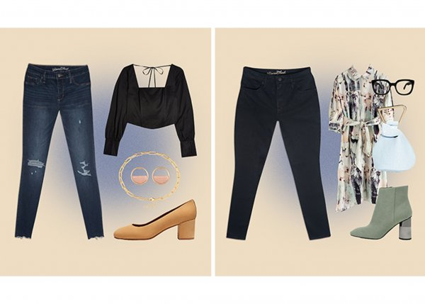 Outfit examples showcasing Target Universal Thread Jean powered by LYCRA® dualFX® technology
