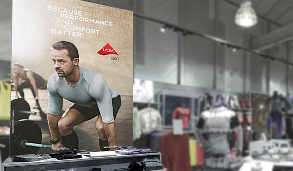 Examples of in-store displays promoting LYCRA® SPORT technology